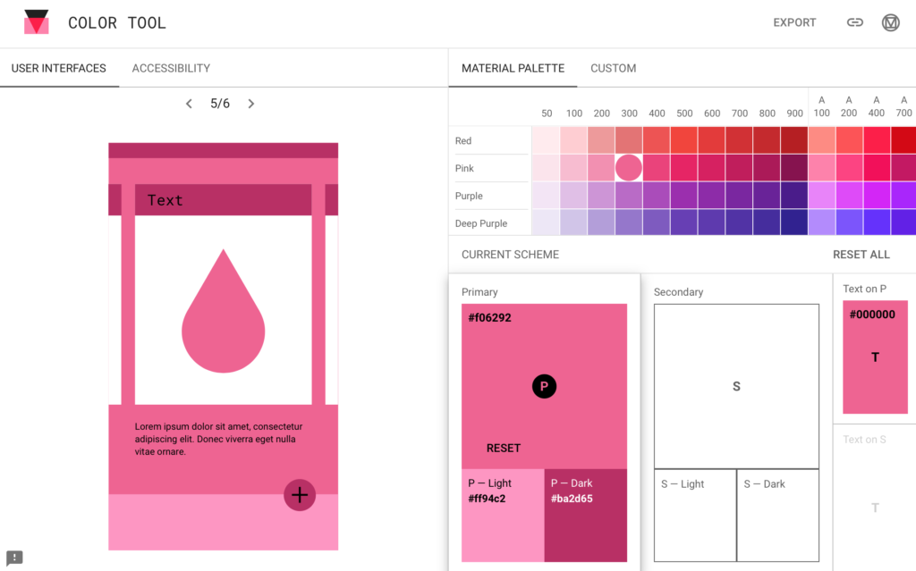 Mobile App Design. Example of material designs colour tool